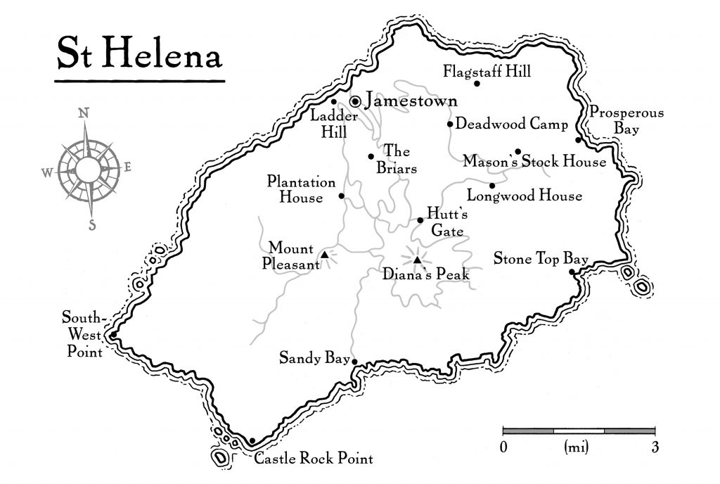 Napoleon on St Helena map of St Helena