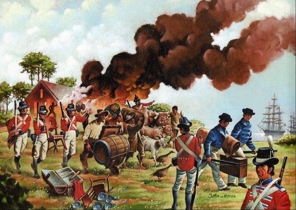 The British cause havoc along the coast of the North American seaboard